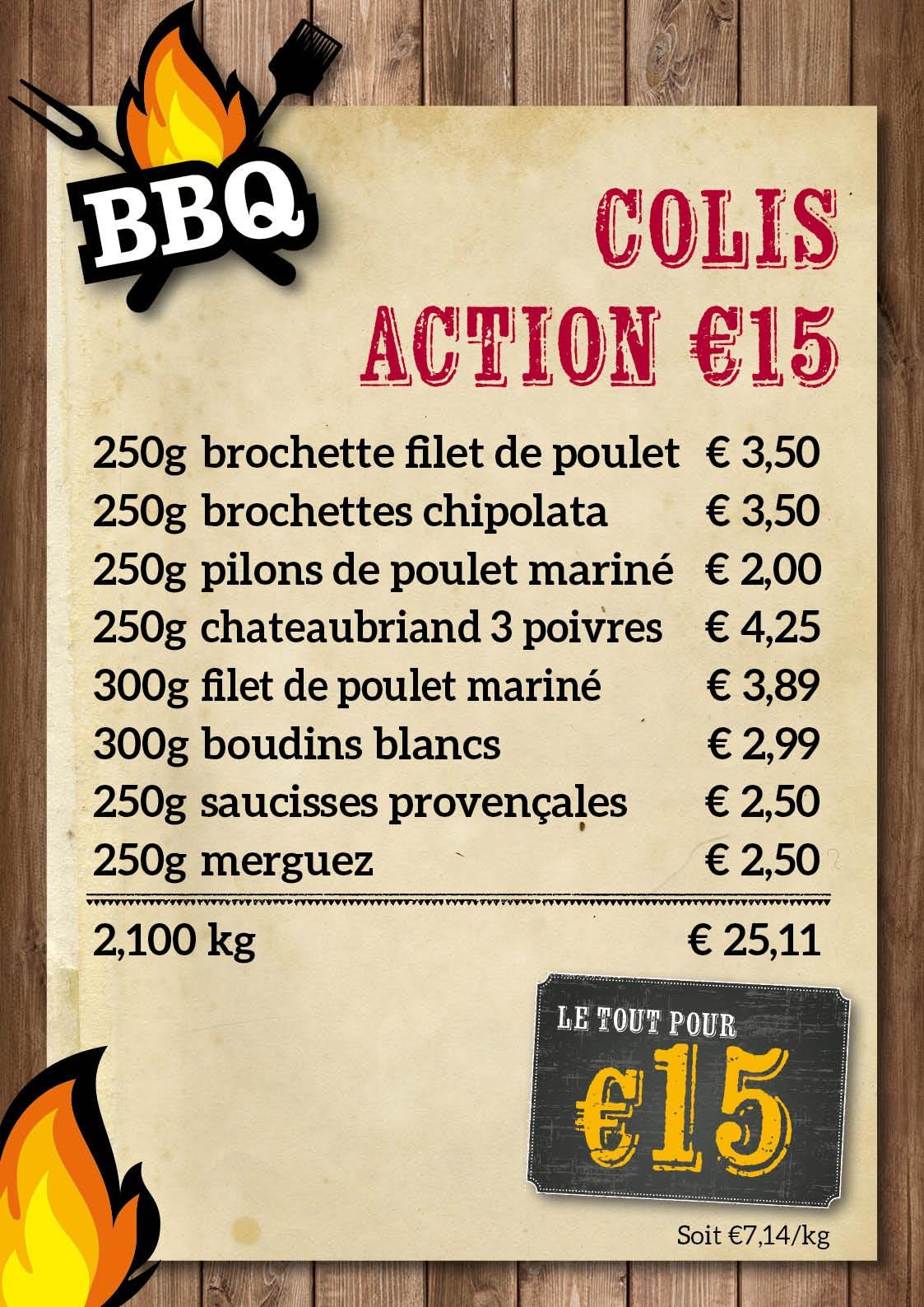 BBQ colis €15 - De Kleine Bassin