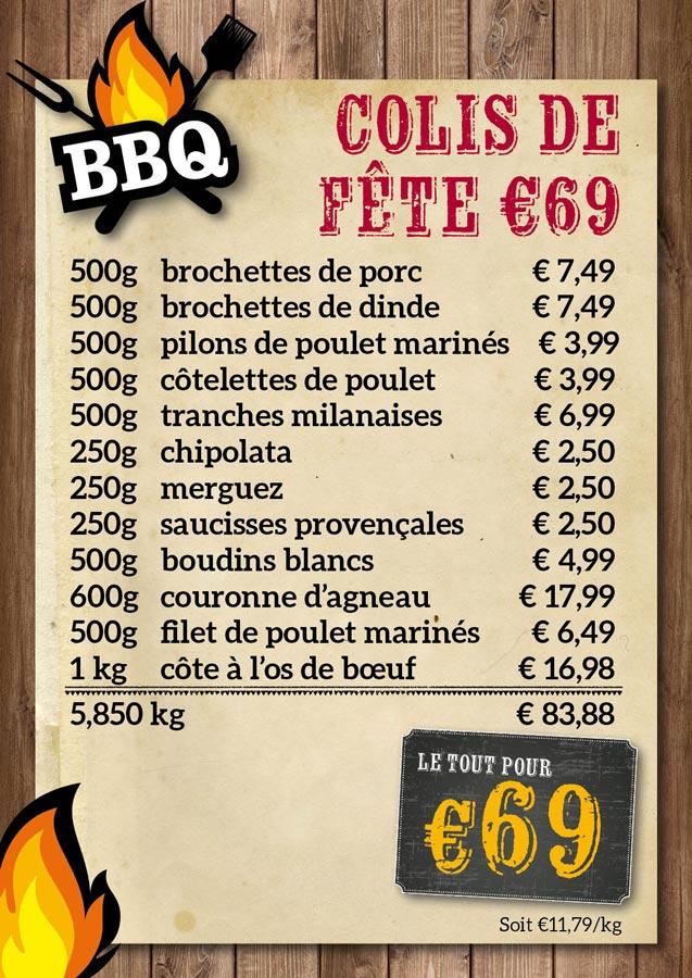 BBQ colis de fête €69 - De Kleine Bassin