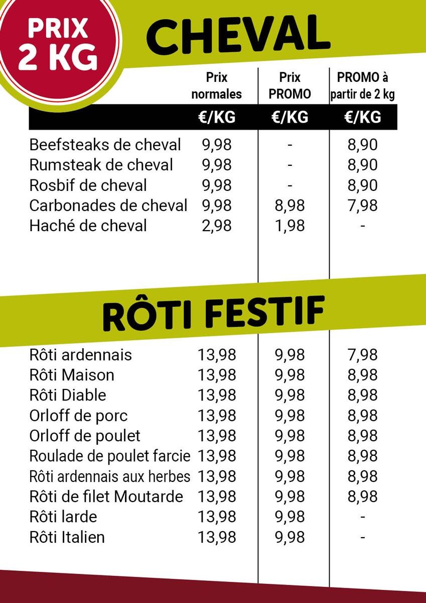 Prix 2 kg - gevel / rôti- De kleine Bassin